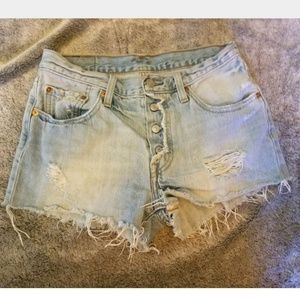 Levi's 501 Button Fly Distressed Shorts Size 26